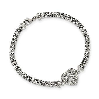 925 Sterling Argent CZ Cubic Zirconia Simulated Diamond Love Heart Mesh Link Bracelet 7.5 Inch Jewelry Gifts for Women