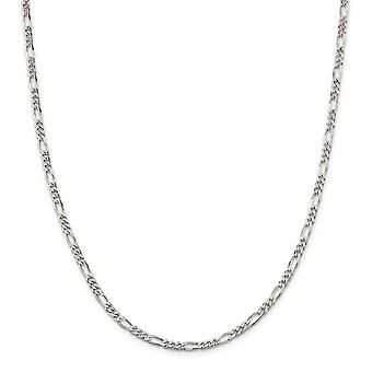 925 Sterling Silver Rhodium banhado 4mm Figaro Chain Bracelet Joias Joias para Mulheres - Comprimento: 7 a 8