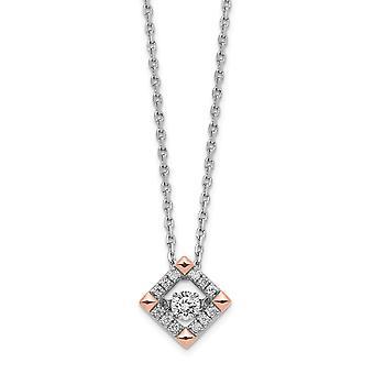 925 Sterling Silver Ροντ επιμεταλλωμένα και αυξήθηκε τόνος τετράγωνο Vibrant CZ με 2inch ext. κολιέ 16 ιντσών δώρα κοσμήματα για τις γυναίκες