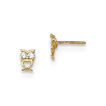 3.9mm 14k Madi K Owl With CZ Cubic Zirconia Simulated Diamond Eyes Screw back Post Earrings Jewelry Gifts for Women