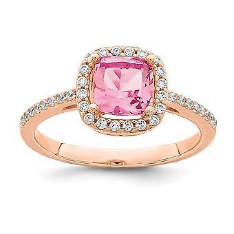 925 Sterling Silber Rose Ton Platz Pfirsich CZ Zirkonia simuliert Diamant Halo Ring Schmuck Geschenke für Frauen - Ring