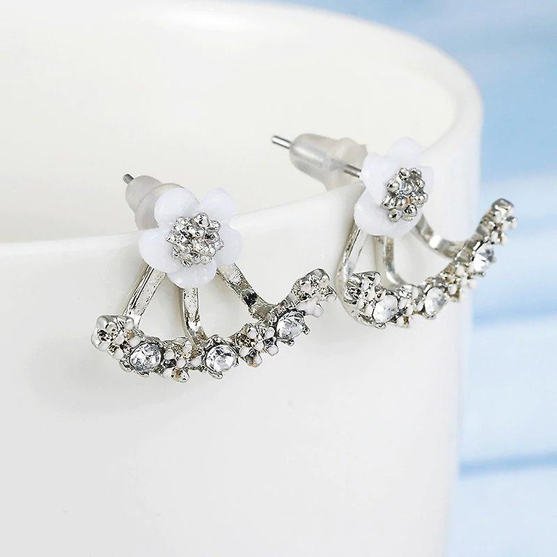 Silver Flower Ear Jacket Earrings