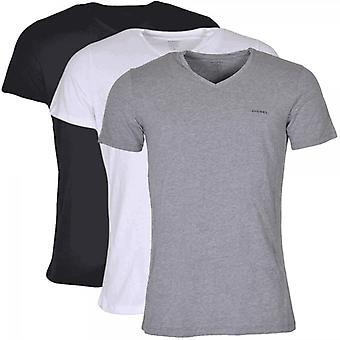 Diesel Jake 3 Pack Plain White/Black/Grey V Neck T-Shirts