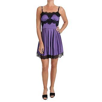 Dolce & Gabbana Purple Stretch Czarna koronkowa sukienka