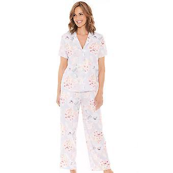 Ladies Womens Satin Pyjama Floral Print
