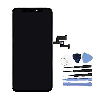 الاشياء المعتمدة® iPhone XS الشاشة (شاشة تعمل باللمس + OLED + أجزاء) AAA + الجودة - أسود + أدوات