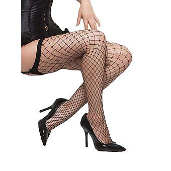 Womens Plus Size Diamond Net Fishnet Thigh High Stockings Hosiery
