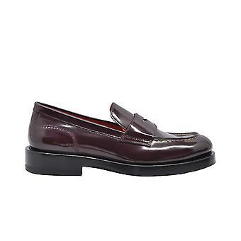 Santoni Wuak58074by2clphb56 Women's Burgundy Leather Loafers