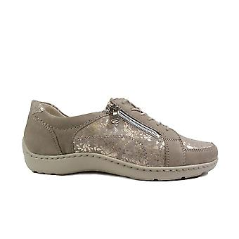 Waldläufer Henni 496042 309 921 Light Gold Nubuck/Leather Womens Wide Fit Lace Up Shoes