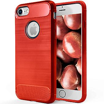 Shell Apple iPhone 7/8 Red Carbon Fiber Armor Case Protection