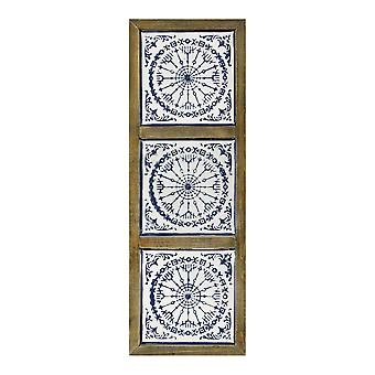 Blauw-wit medaillon metaal en houten kunst aan de muur