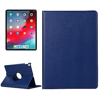 For iPad Pro 12.9 Inch (2018) Case,Lychee Texture PU Leather Folio Cover,Navy