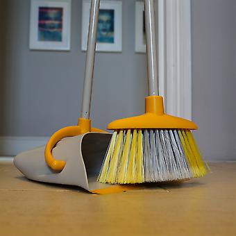 Charles Bentley Brights Indoor Long Handled Lobby Dustpan and Brush Set - Jaune
