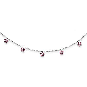 925 Sterling Silver Rh plated Clear and Red CZ Cubic Zirconia Simulated Diamond With 2inch Ext. Necklace Choker 12.5 Inc