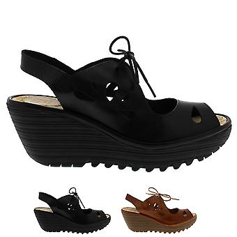 Womens Fly London Yend Summer Open Toe Cut Out Wedge Heel Holiday Sandals