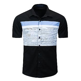 Allthemen Men's Summer Printed Polo Top Short Sleeve Lapel Casual Striped Shirt