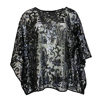 Bob Mackie Women's Top Sequin Floral Caftan Pull Over Black A283728
