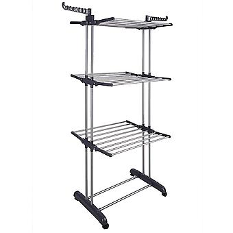 Aquaterior Foldable 3 Tier Clothes Drying Rack Rolling Collapsible Laundry Dryer Hanger Stand Rail Indoor Dark Grey