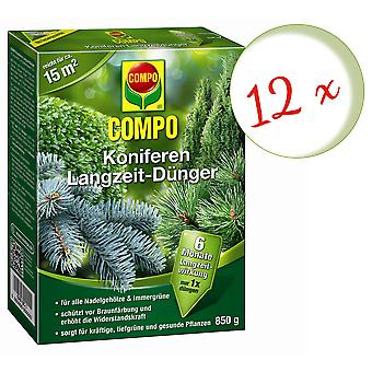 Disperso: 12 x coníferas COMPO fertilizantes a largo plazo, 850 g