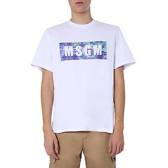 Msgm 2840mm23420709801 Men''s White Cotton T-shirt