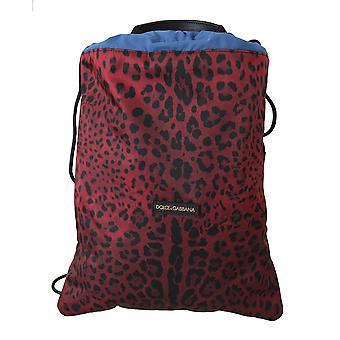 Red leopard adjustable drawstring women nap sack bag