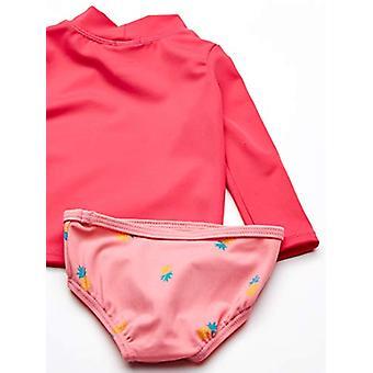 Essentials UPF 50- Baby Girls Set rash guard a maniche lunghe a 2 pezzi, ananas rosa, 9M