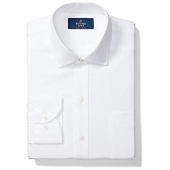 BUTTONED DOWN Men's Slim Fit Spread Collar Solid Non-Iron Dress Shirt (Pocket...
