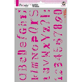 Pronty Crafts Alfabet Grunge A4 Stencil