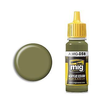 Ammo by Mig Acrylic Paint - A.MIG-0058 Light Green Khaki (17ml)