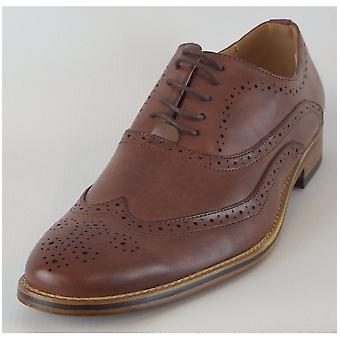 Goor Mid Brown Pu 5 Eye Wing Capped Brogue Oxford Shoe Leather Quarter Lining & Sock Resin Sole
