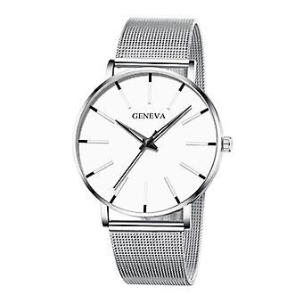 Geneva Quartz Watch - Anologue Luxury Movement for Men and Women - Stainless Steel - Silver