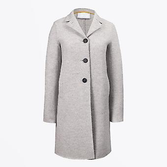 Harris Wharf  - Boiled Wool Button-Up Boxy Coat - Pale Grey