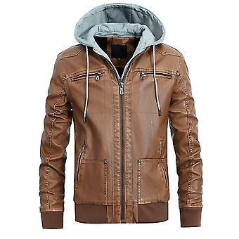 Allthemen Men's Stylish Handsome Hooded Zipper Motorcycle Leather Coat