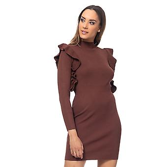 Knit dress with elastic waist and ruffle sleeves