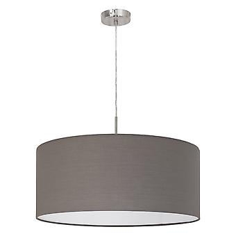 1 Light Ceiling Pendant Satin Nickel with Anthracite Brown Fabric Shade, E27