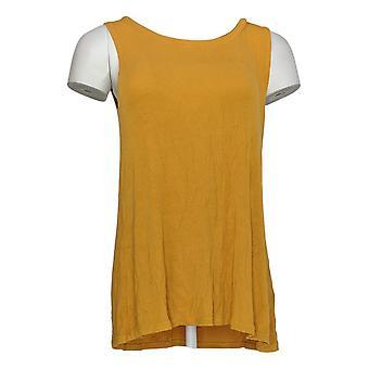LOGO Layers par Lori Goldstein Women-apos;s Top Ribbed Swing Tank Yellow A305457