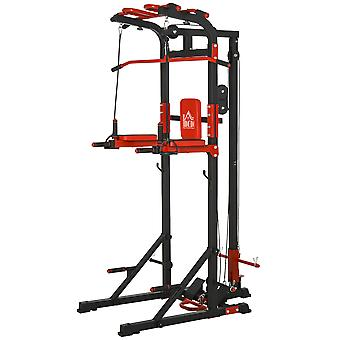 HOMCOM Power Tower Pull Up&Push Up&Dip Station,Home Strength Training Fitness Workout Station Arms, Legs, Back,Waist, Buttocks, Abdomen Exercise