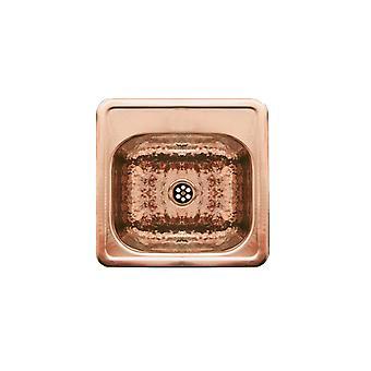 Lavandino decorativo quadrato drop-in per l'intrattenimento / preparazione con una ciotola di texture martellata e una sporgenza con finitura a specchio - rame martellato