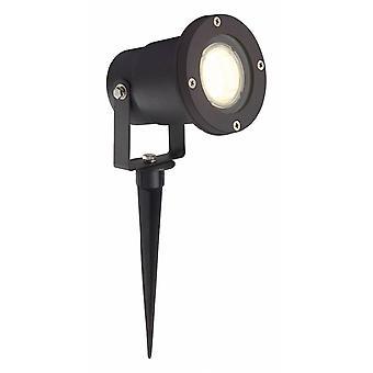 LUZ BRILLANTE Janko LED Lanza al Aire Libre 32cm Negro ? 1x LED-PAR51, GU10, lámpara reflector LED de 3W incluida, 250lm, 3000K
