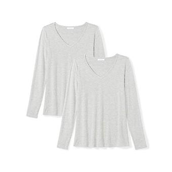 العلامة التجارية - طقوس اليومية Women's Jersey طويلة الأكمام V-Neck تي شيرت