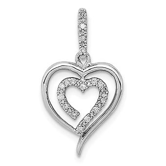 925 Sterling Silver Polished Diamond Love Heart Pendant Necklace Jewelry Gifts for Women - .10 dwt