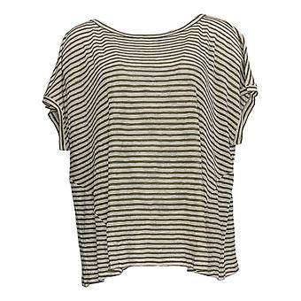 Lisa Rinna Collection Women's Top Striped Pullover Green A366187