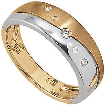 Naisten rengas 585 kulta keltainen kulta valkoinen kulta bicolor matt 5 timantit loistava