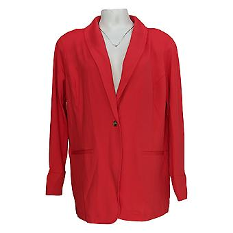 IMAN Global Chic Women's Plus Resort Blazer W/ Printed Cuffs Red 690-209