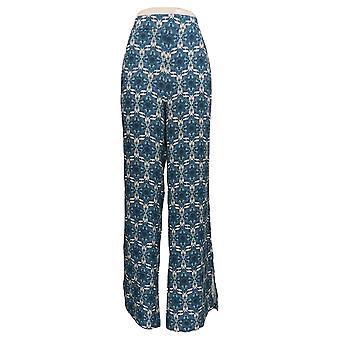 BROOKE SHIELDS Timeless Women's Pants XL Wide-Leg W/ Side Slits Blue A352139