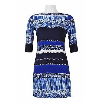 Donna Morgan Cutout hals 3/4 erme multi print jersey kjole (petite)