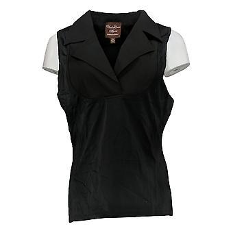 Kathleen Kirkwood Women's Top Dictrac-Ease Notch Collar Top Black A369062