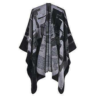 Women's Autumn And Winter Plus Size Graffiti Black Warm Scarf Blanket Shawl