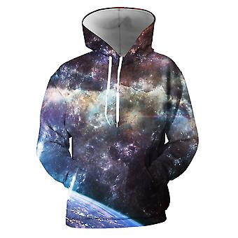 Mens 3d Colorful Galaxy Printed Umber Hoodies With Pockets
