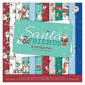 Papermania سانتا والأصدقاء 6x6 بوصة ورقة حزمة